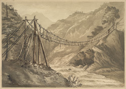 Rope Bridge over the Kishuganga River (Himalayas)